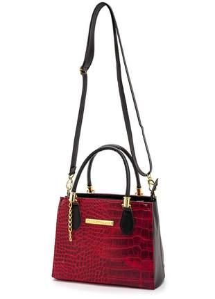 Kit bolsa lorena pequena em croco vermelho + carteira