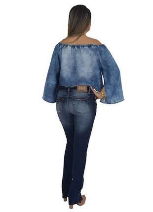 Blusa jeans ombro a ombro lança perfume promoção