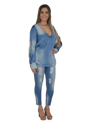 Blusa jeans mullet lança perfume promoção
