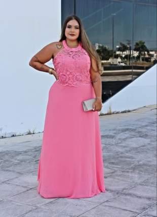 Vestido de festa plus rosa moda madrinha casamento formanda noiva mãe noivos bordado