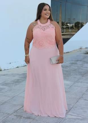 Vestido rosê de festa plus size bordado gola madrinha casamento formatura bodas