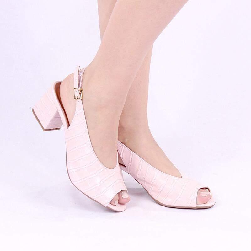b804e5232 Sapato sandália peep toe fun store confortalvel rosa quartzo croco salto  baixo bloco1