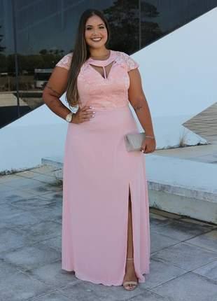 Vestido de festa plus size rosê e azul madrinha casamento noiva formanda senhora manguinha