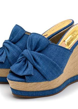 Sandália anabela tamanco laço jeans azul salto plataforma juta bege