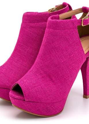 Sandália fechada meia pata salto alto fino linho rosa pink