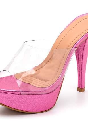 Sandália tamanco meia pata transparente salto alto fino rosa cintilante