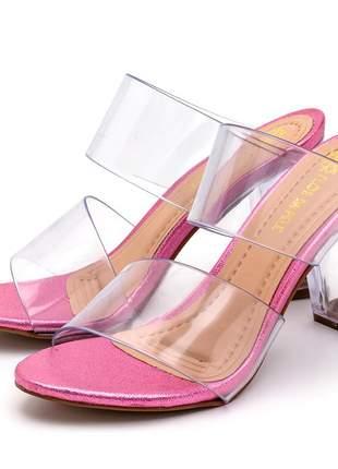 Sandália feminina rosa cintilante tiras e salto grosso transparente