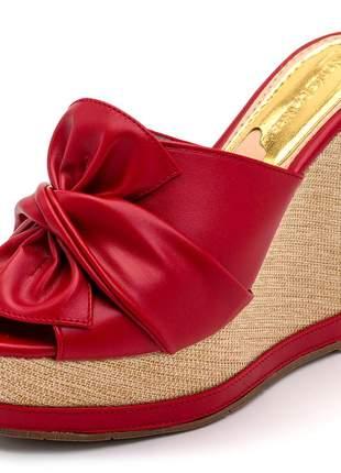 Sandália tamanco vermelho laço salto plataforma juta bege