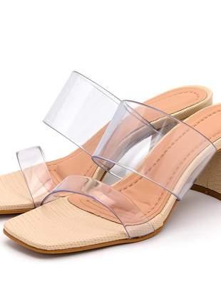 Sandália tamanco creme bico quadrado tira transparente salto grosso