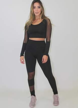 Conjunto fitness cropped calça legging detalhe transparente