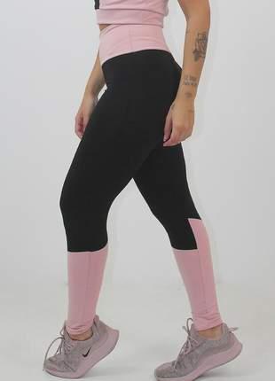 Calça legging fitness preto com rosê
