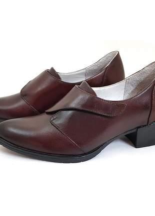 Sapato couro fechamento velcro salto médio conforto avalon malala cores