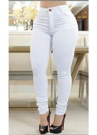 Calça jeans feminina branca cintura alta lycra empina bumbum