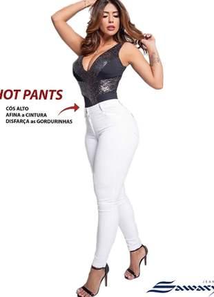 Calça jeans feminina hot pants cós alto original