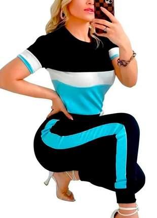 Conjunto moletinho blusa manga curta gola redonda