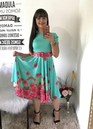 Vestido evangelico gode florido estampado rodado manga curta com cinto