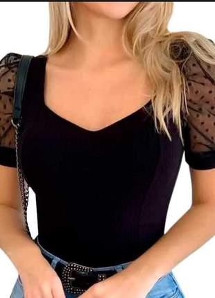 Body blusa blusinha manga curta tule poa bolinha feminino