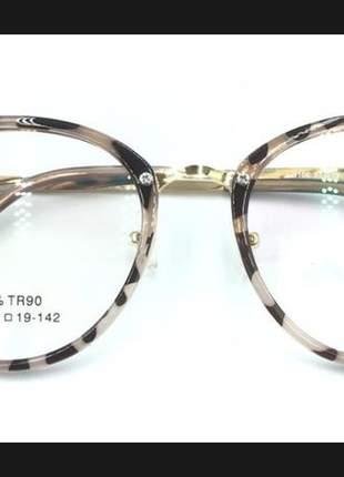 Armação óculos semgrau femenino retro metal chic nova +case