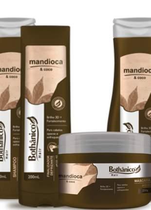 Kit bothanico hair mandioca e coco força brilho 3d completo