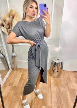 Vestido longo de manguinha