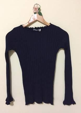Blusa de lã canelada azul marinho