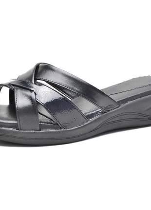 Sandália pierrô conforto ortopédica aberta couro legítimo cor preta