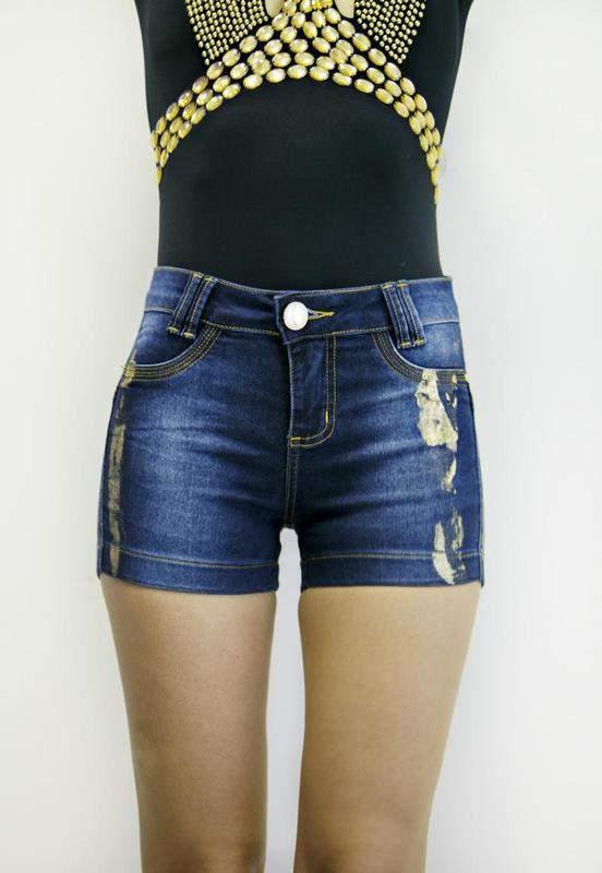Cereja Dourada / Shorts jeans com foil recorte levanta bumbum