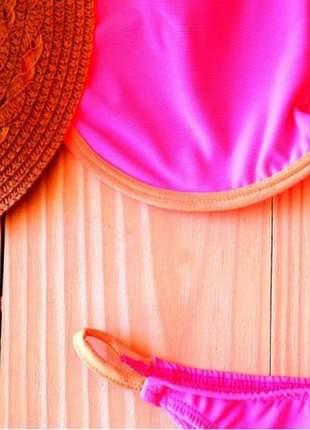 Biquini top aro e calcinha string néon