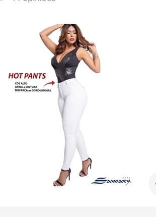 Calça jeans feminina hot pants cós alto original sawary