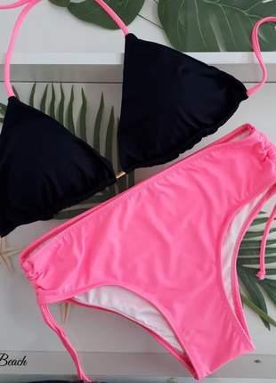Biquini cortininha sunquini - preto e pink