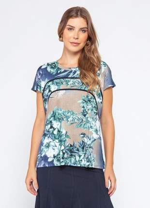 Blusa básica feminina com estampa floral verde – 11584