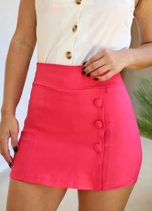 Kit com 2 shorts saia com botoes e fenda varias cores