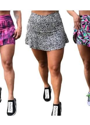 Kit 3 short saia estampado roupa de academia feminino