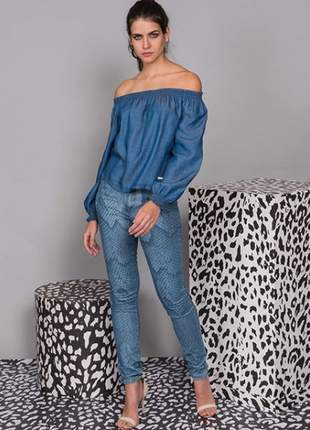 Blusa ombro a ombro (ciganinha) jeanseria jeans