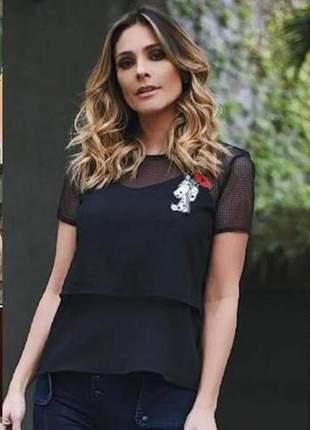 Blusa jeanseria furadinha black