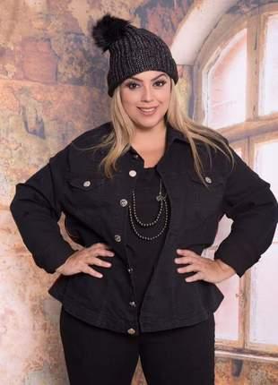 Jaqueta jeans preta plus size