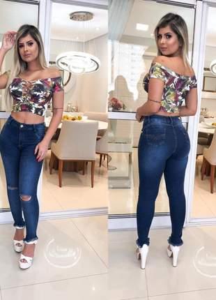 6aff18c66 Calça jeans rasgada no joelho cós alto - R$ 119.99 #9467, compre ...