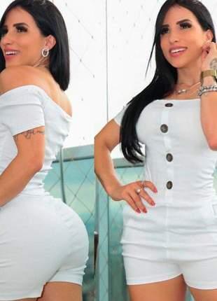 Macaquinho curto decote ombro botão bolso bengaline feminino
