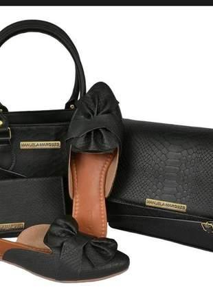 Kit sapato mule feminino + 2 bolsas medias + grátis carteira