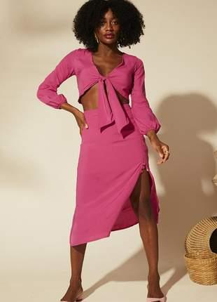 Conjunto saia fenda rosa