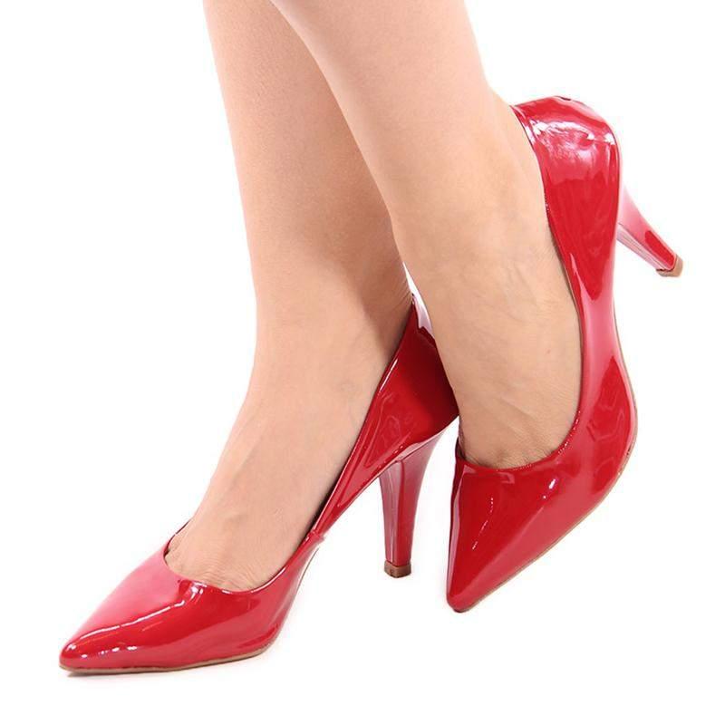 Scarpin feminino bico fino conforto salto alto verniz vermelho
