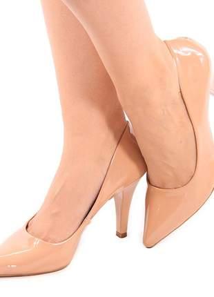 Scarpin feminino bico fino conforto salto alto verniz nude / rose