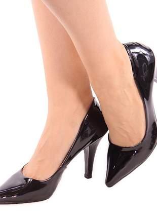 Scarpin feminino bico fino conforto salto alto verniz preto