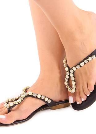 Sandalia rasteirinha feminina chinelo pedraria de strass palmilha conforto preta