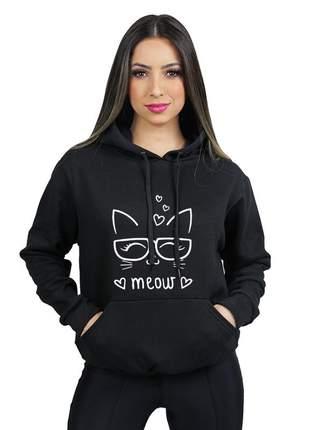 Moletom canguru feminino flanelado estampado meow