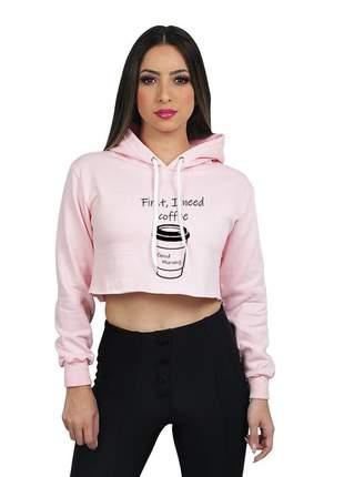 Moletom cropped feminino flanelado estampado coffe