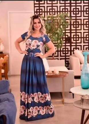 Vestido feminino longo luxo com cinto moda evangélica