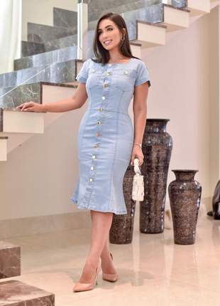 Vestido jeans modelo recortado tulipa super modelador modelo exclusivo -moda evangélica