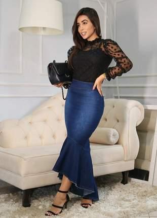 Saia jeans sereia barak - longa, comprimento mullet super moderna e modeladora