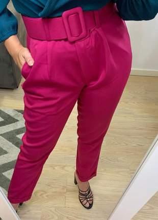 Calça social alfaiataria trabalho cinto encapado forrado rosa